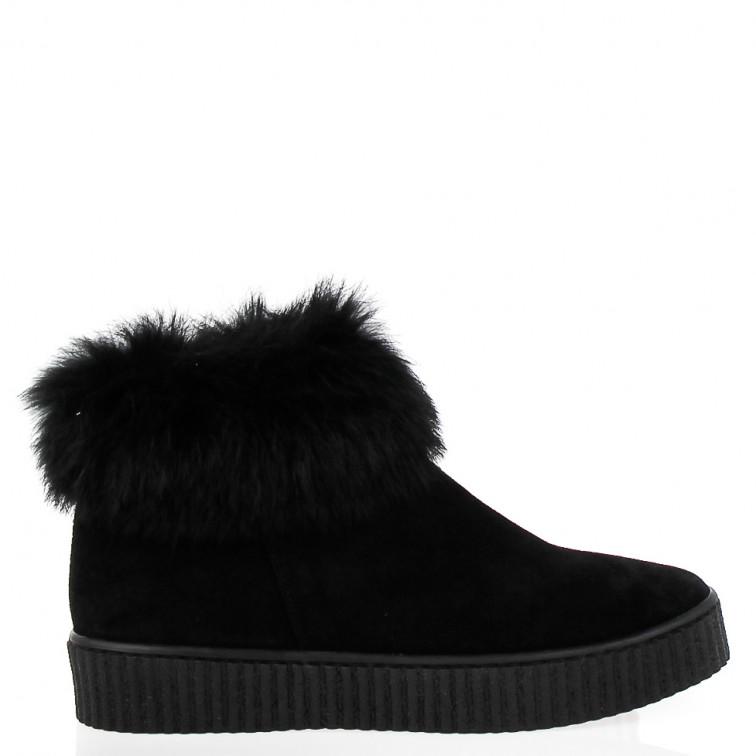 Czarne Sneakersy Pelliccia