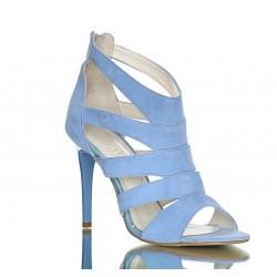 Sandały Na Obcasie Zamszowe Niebieskie Luxury Cross