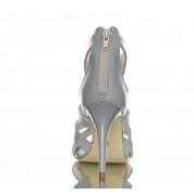 Sandały Na Obcasie Skórzane Szare Luxury Cross