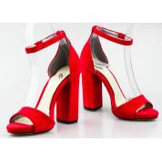 Sandały Na Słupku Zamszowe Czerwone Mary Lou