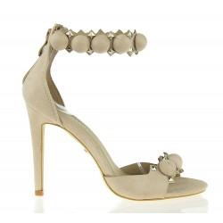 Sandały Na Szpilce Pompon Beige