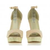 Sandały na Koturnie Beige Suede