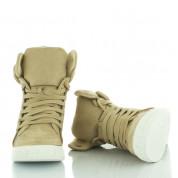 Beżowe Zamszowe Sneakersy Beige Dual