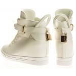 Sneakersy damskie Białe z kłódką Gold