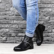 Botki Skórzane Monnari z Klamerką Czarne Antygona