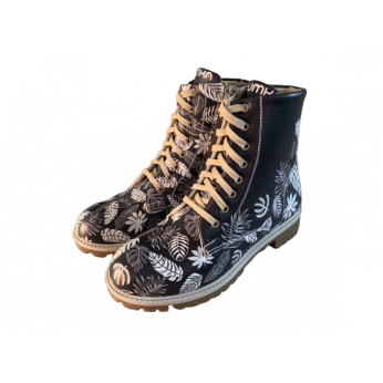 Boots Vegan Black With White Leaves