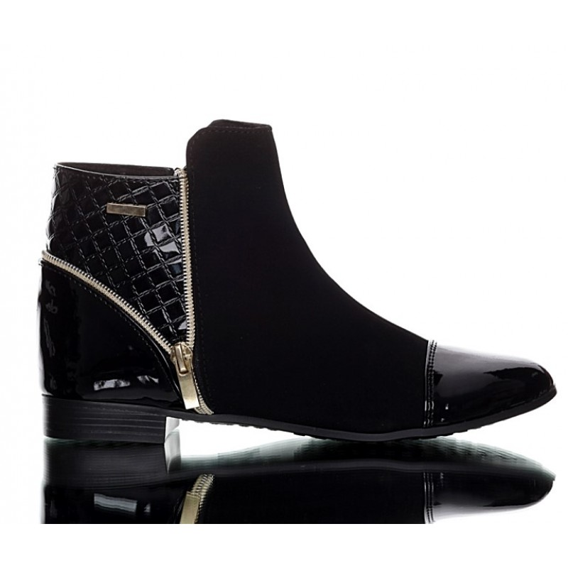 black quilted boots nubuck and patent pu leather