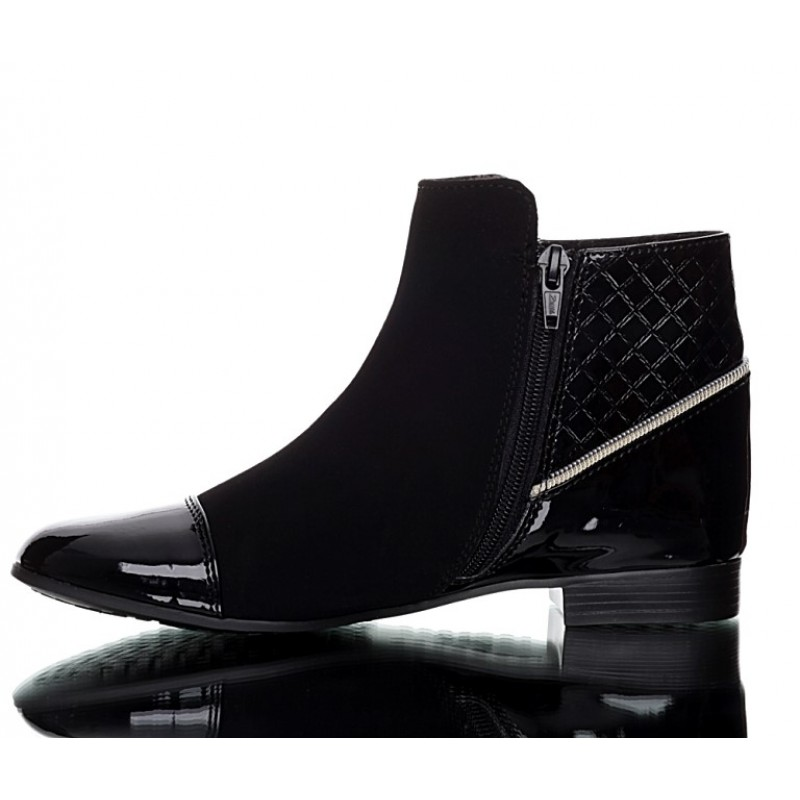 black quilted boots nubuck and patent pu leather ekstra