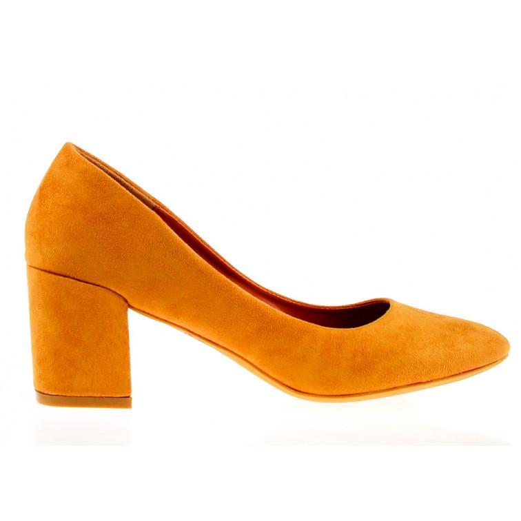 1a524f730edc Yellow Eco Suede Heels Pumpkin - Ekstra Szpilki