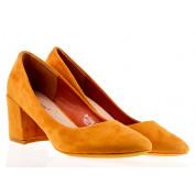 Czółenka Zamszowe Żółte Pumpkin