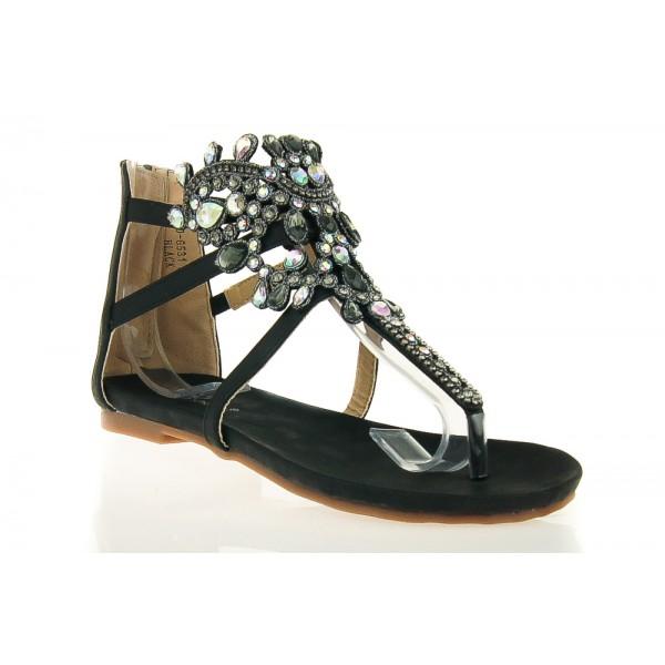 Czarne Sandały Gladiatorki z Kryształami Dimonds