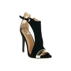 Czarne Sandały Na Szpilce Monroe