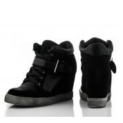 Czarne Sneakersy Zamszowe Sisters
