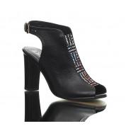 Sandały na Obcasie Czarne Deux Couleurs