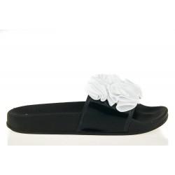 Klapki Damskie Z Białymi Kwiatami Blou