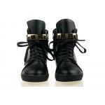 Sneakersy damskie Czarne z kłódką Gold