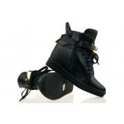 Sneakersy na Koturnie z Kłódką Czarne Gold