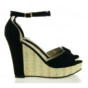 Sandały na Koturnie Black Suede