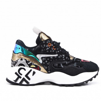 Sport Trainers with Pattern Black Patis
