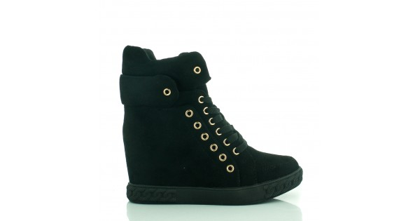 Czarne Zamszowe Sneakersy Black Dual