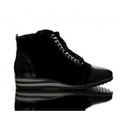 Sneakersy Czarne Zamszowe z Łańcuchem Rub