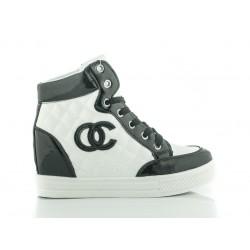 Czarno-białe Pikowane Sneakersy ChannelI