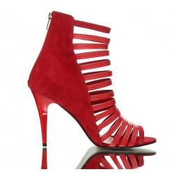 Sandały Na Szpilce Czerwone Zamszowe Bandes