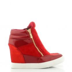 Czerwone Zamszowe Sneakersy Riotka