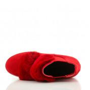 Czerwone Sneakersy z Futerkiem Total