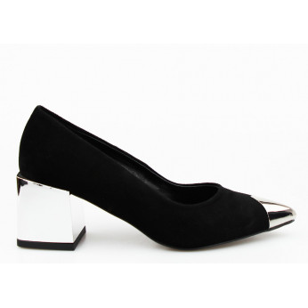 Shuttles Leather Suede On Low Silver Heel Black Kaliope