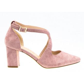 Sandały z Odkrytymi Bokami Zamszowe Różowe Bridget