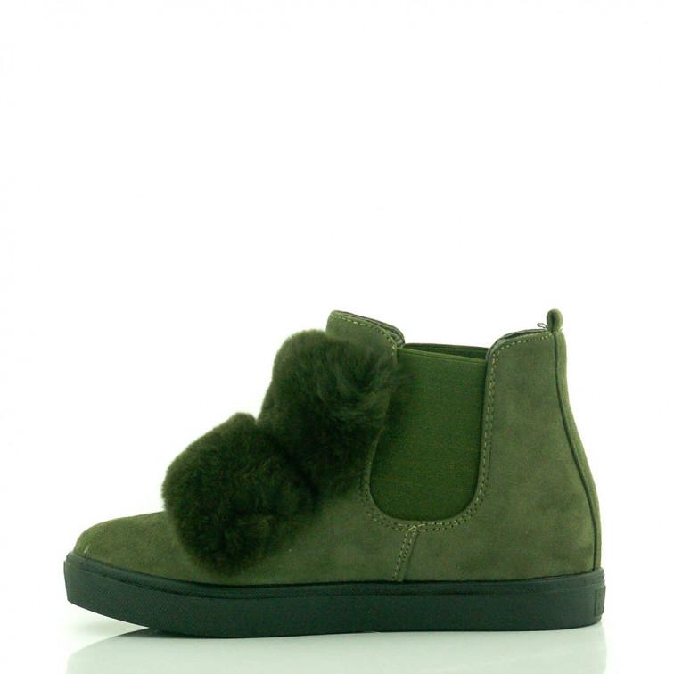 a4f8effcdc47e Zielone Sneakersy z Futerkiem Total - Ekstra Szpilki