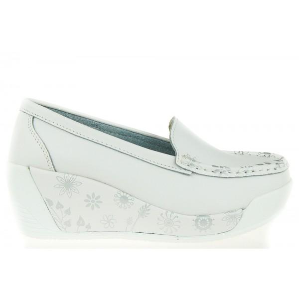 Białe Skórzane Półbuty Comfortable