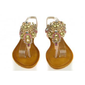 Pudrowe Sandały Japonki z Kryształami Shiny