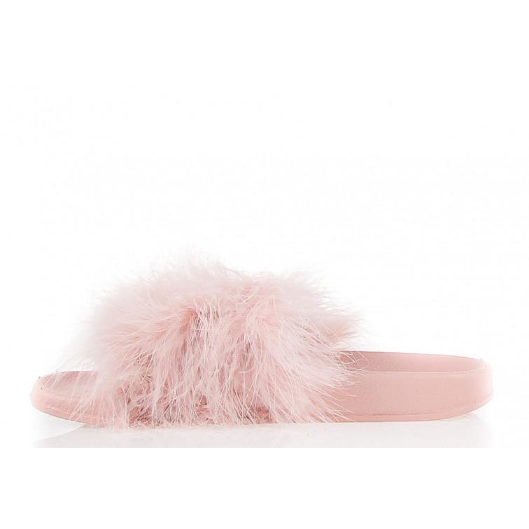 klapki damskie różowe z puszkiem fluffy