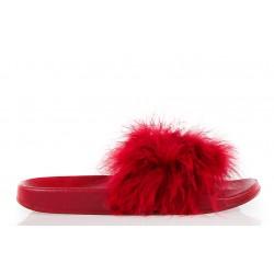 Klapki Damskie Czerwone z Puszkiem Fluffy