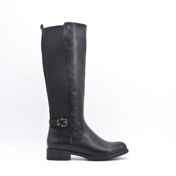 High Boots With Buckle Black Cindy