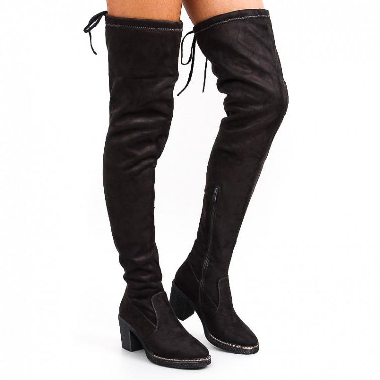 2a177e744e3 Grey Boots With Rubber Heel Indira - Ekstra Szpilki