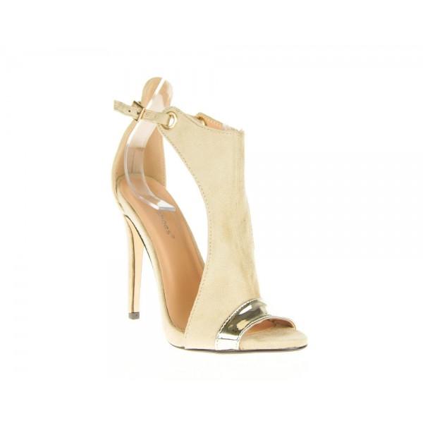 Beżowe Sandały Na Szpilce Monroe