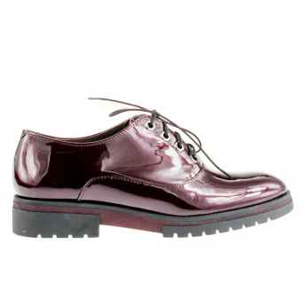 Bordo Leather Lacquered Low Boots Junona