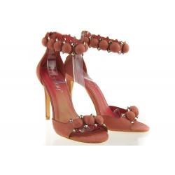 Sandały Na Szpilce Pompon Pink