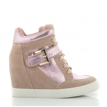 Różowe Sneakersy Zamszowe Sisters