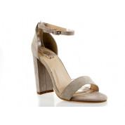Sandały Z Klamerką Eko Zamszowe Beżowe Fashion