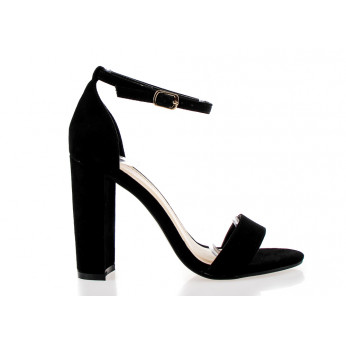 Black Eco Suede Heels Sandals Fashion