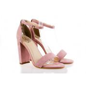 Sandały Z Klamerką Eko Zamszowe Różowe Fashion