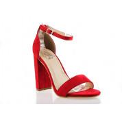 Sandały Z Klamerką Eko Zamszowe Czerwone Fashion