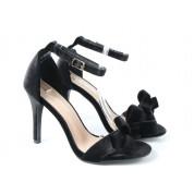 Sandały Na Szpilce Z Kokardką Welurowe Czarne Welia