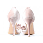 Sandały Na Szpilce Z Kokardką Welurowe Różowe Welia