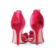 Sandały Na Szpilce Z Kokardką Welurowe Czerwone Welia