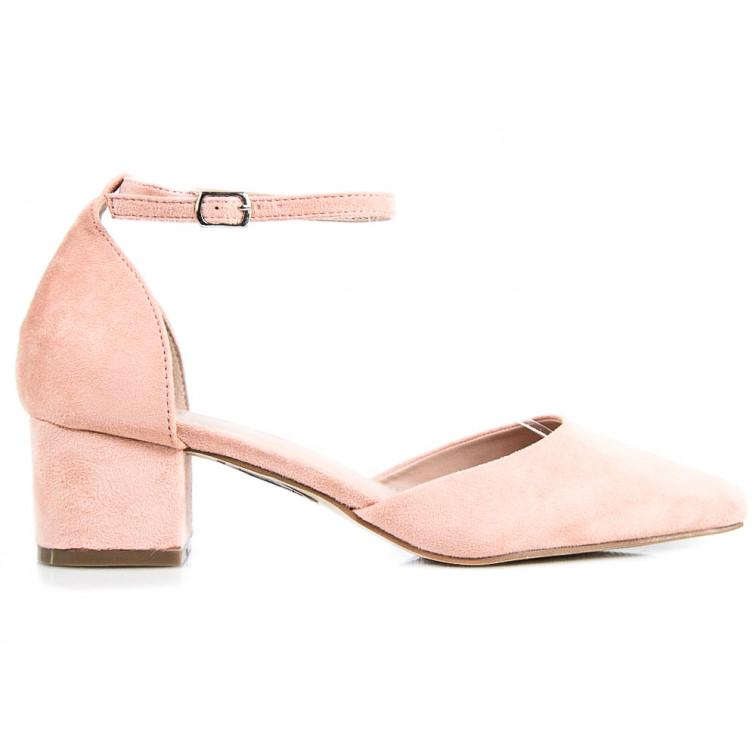 27ccbe3aabf687 -28% Niedostępny Sandały Na Niskim Słupku Z Zakrytymi Palcami Różowe Moly